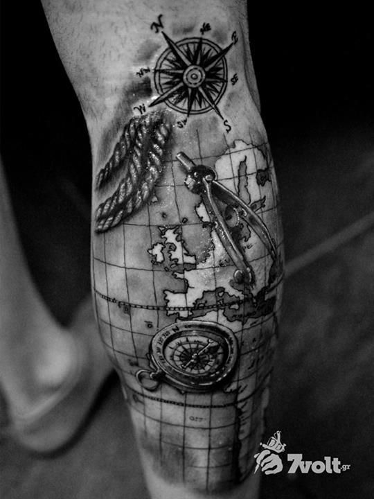compass and map tattoo - Google Search