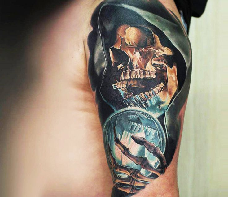 realistic skull tattoo by levgen eugene knysh tattoo no