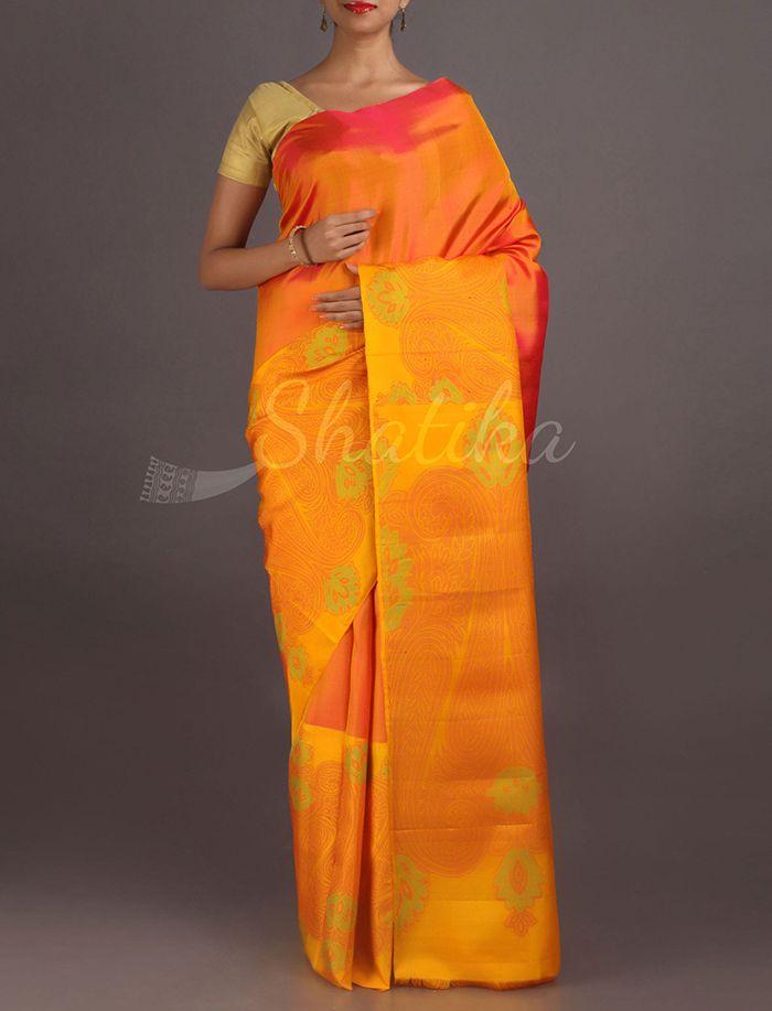 Aarti Pulpy Orange Vibrant Pure #SoftSilkSaree