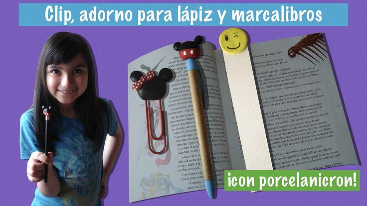 Clip, adorno para lápiz y marca libros con porcelana fría.