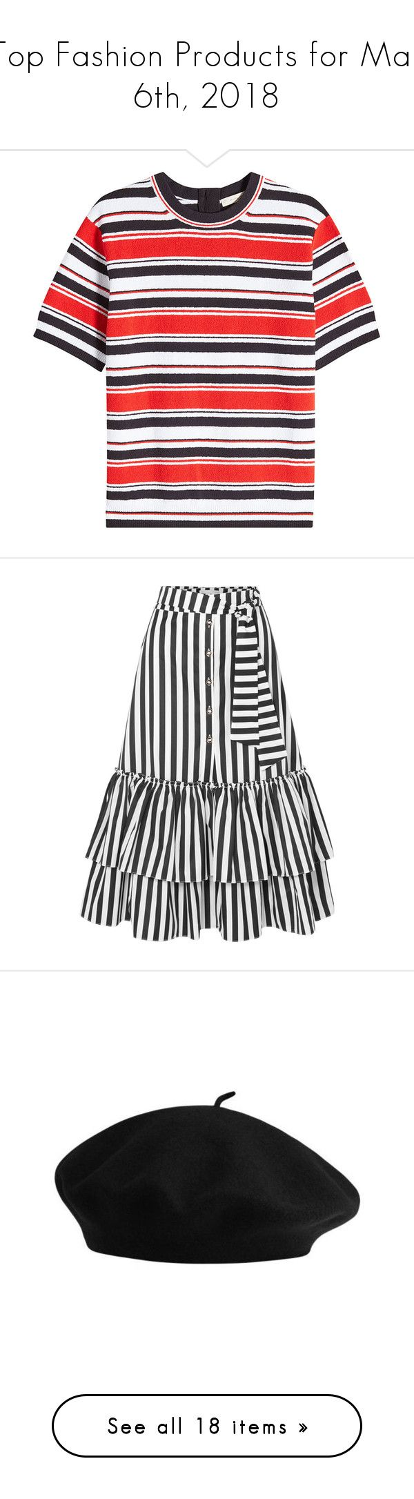 """Top Fashion Products for Mar 6th, 2018"" by polyvore ❤ liked on Polyvore featuring stripes, marc jacobs, skirts, black, caroline constas skirt, frilled skirt, striped skirts, midi flounce skirt, flounce skirt and accessories"
