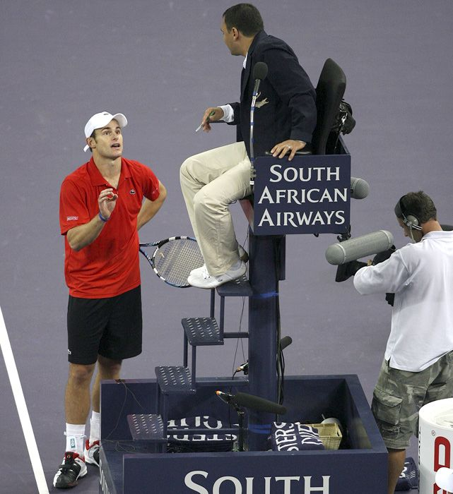Andy Roddick, who is known for his sometimes tempestuous nature on the court, argues with an umpire during a match against Ivan Ljubicic in Shanghai. (Ron C. Angle/SI)