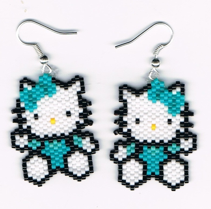 Hand Beaded Hello Kitty with turquoise dangling by beadfairy1. Etsy. $9.95