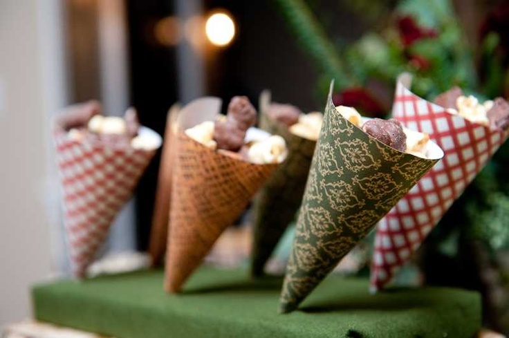 Vintage Christmas Holiday Party  Snack Cones made with printables!