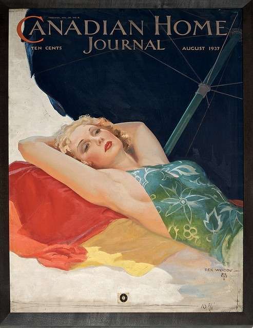Canadian Home Journal vintage magazine cover, 1937 beautiful blonde illustration by Rex Woods