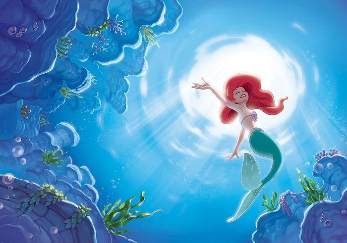 Giant size wallpaper mural for girl's room. Disney Mermaid Ariel giant wall mural ideas. Express and worldwide shipping. Free UK delivery.