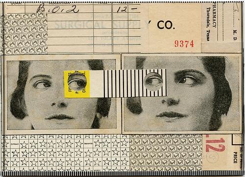 Two-Faced, 2012. Collage by Angelica Paez. - Travail sur l'identité et le regard, jeu de découpes, collage
