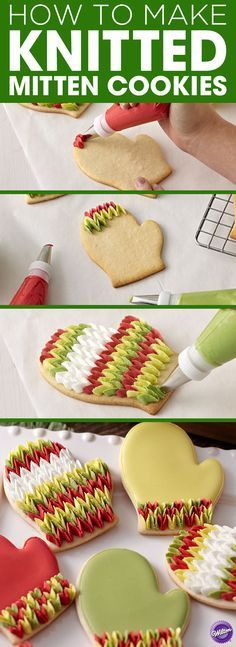 How to Make Knitted Mitten Cookies - Rows of petals piped in sweet pea fashion give these cookies the look of your favorite wool mittens. Use the Comfort Grip Mitten Cutter and Color Flow icing in warm winter colors to create these delightful treats.