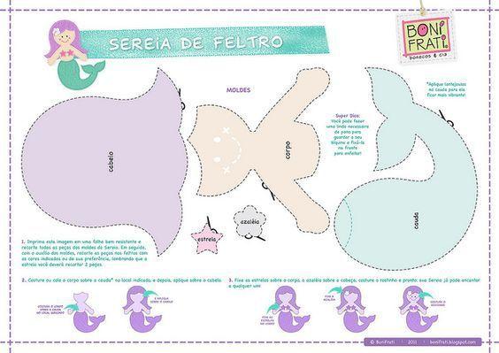 Patrón para hacer muñecas sirenas de fieltro o tela | PatronesMil