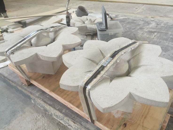 Indiana Limestone Rosettes, replacements for pieces originally fabricated in the 1920's