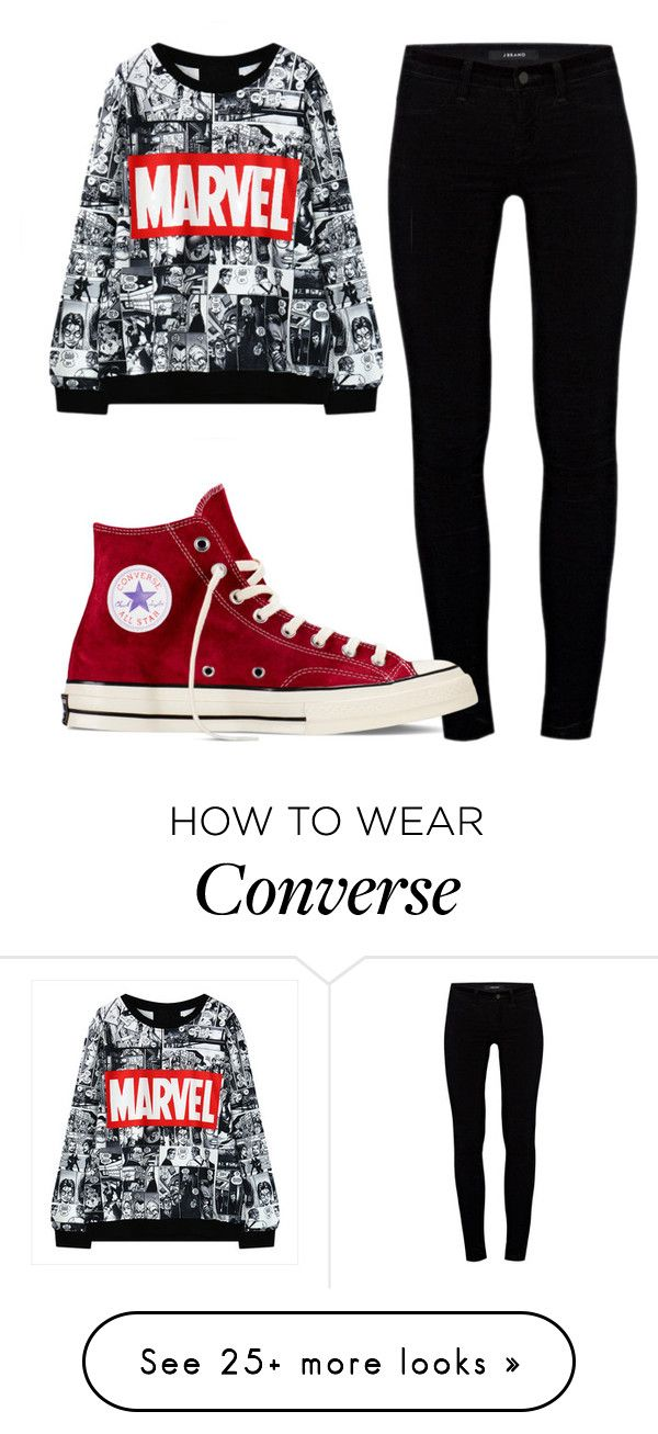 "Original Pin: ""Untitled #215"" by catipp on Polyvore featuring J Brand and Converse"