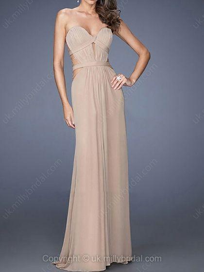 Sheath/Column Sweetheart Chiffon Floor-length Ruffles Evening Dresses -USD$183.88