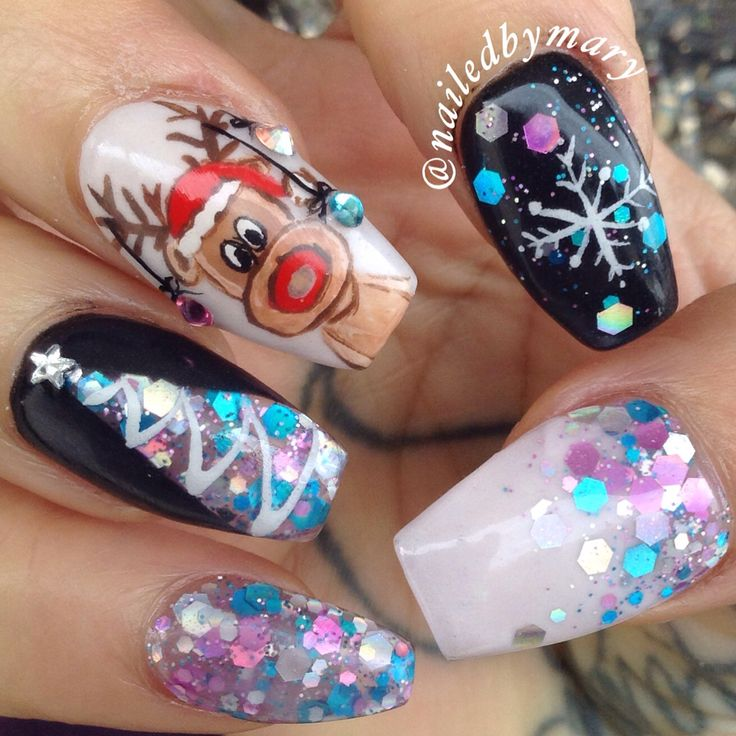 Light Blue Acrylic Nails With Snowflake