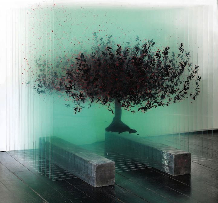 Three-Dimensional Trees Formed with Layers of Painted Glass.