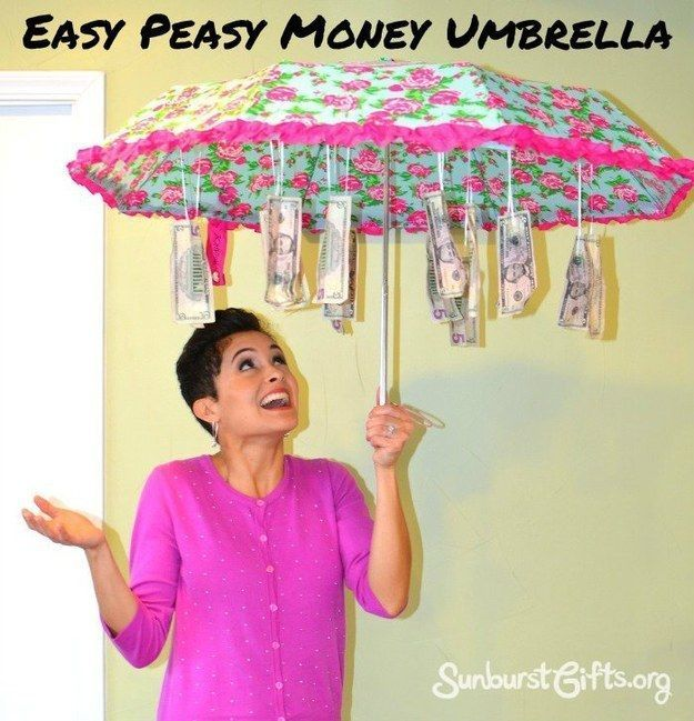 Save something for a rainy day by hanging cash inside a cheap umbrella.