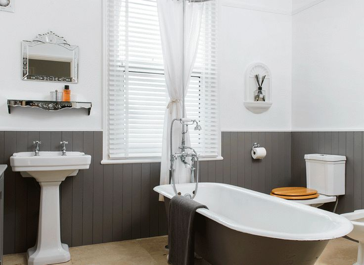 Traditional bathroom with grey roll top bath and painted for Bathroom ideas using tongue and groove