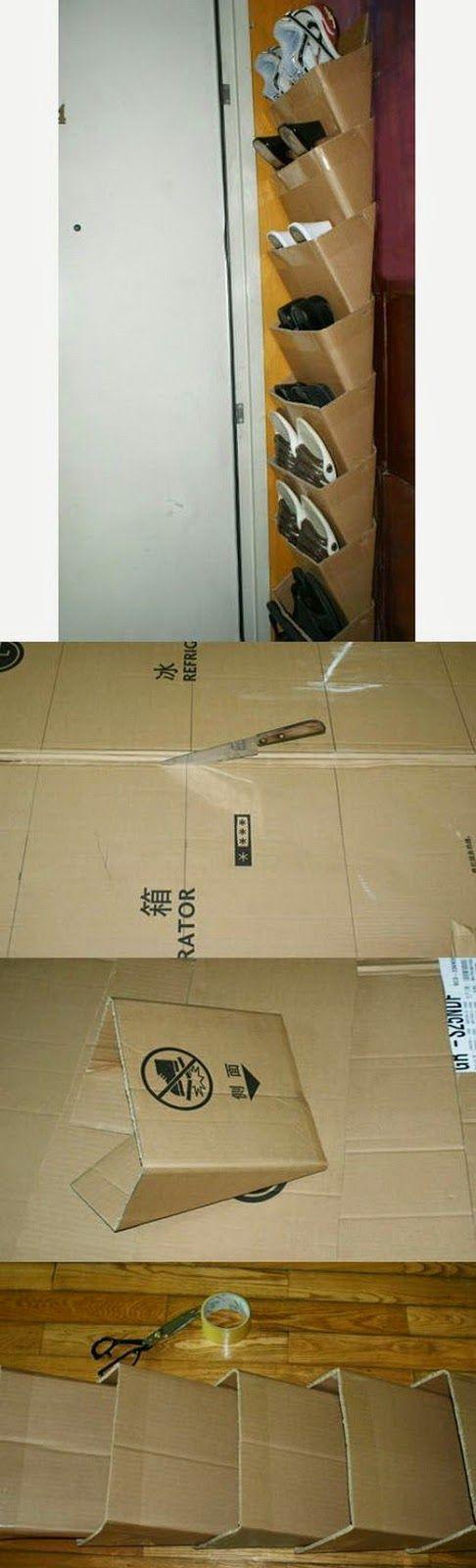 Zapatero con cajas de cartón