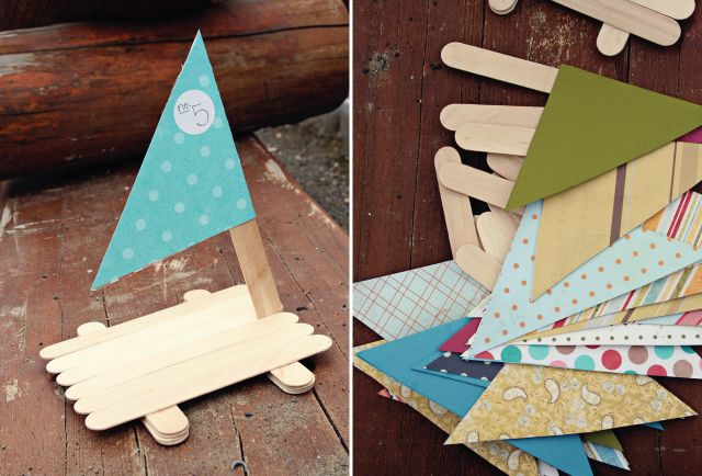 GAME/ACTIVITY: the kids will have a blast making popsicle stick boats to play with and take home. all they need is glue, popsicle sticks a paper mast {available in the shop}. glue layers of sticks together {about 3} to make pontoons. then glue sticks side by side along the top of the pontoons. find a good spot for your mast and, tada! they have a boat!
