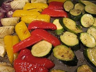 Roasted summer vegetables - - This is really very quick,easy,healty and very tasty. Just use whatever veggies you like and add some good seasoning. I do this all the time.