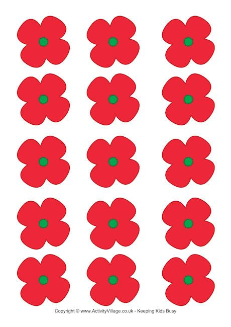 Remembrance Day - poppies for a wreath or game