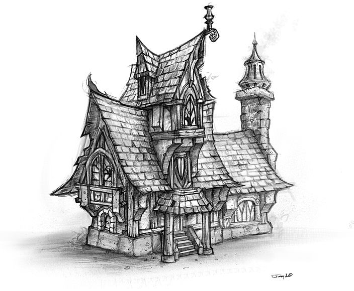 17 best images about fantasy architecture on pinterest Haunted house drawing ideas