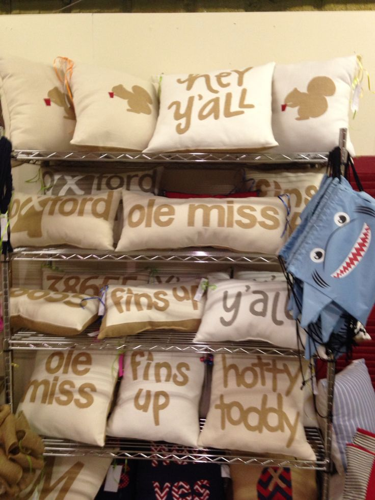 A selection of cute Ole Miss pillows at The Mustard Seed in Oxford. I especially like the Grove Squirrel drinking out of a red Solo cup. Too adorable!