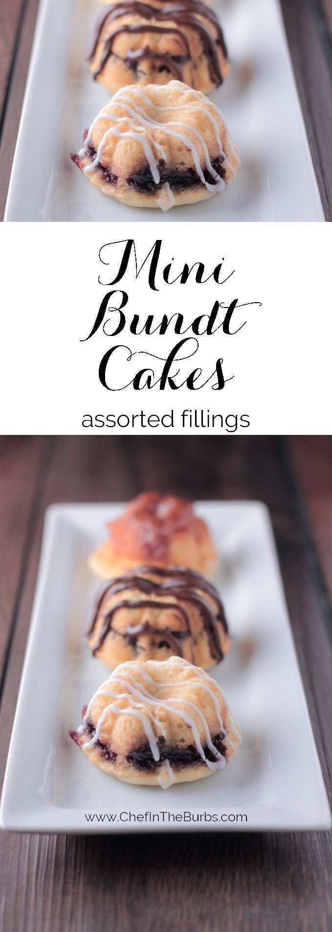 Mini Sour Cream Bundt Cakes filled with everything from chocolate chips to jam to cookie butter and sized perfectly to enjoy one of each flavor. Or two I don't judge.