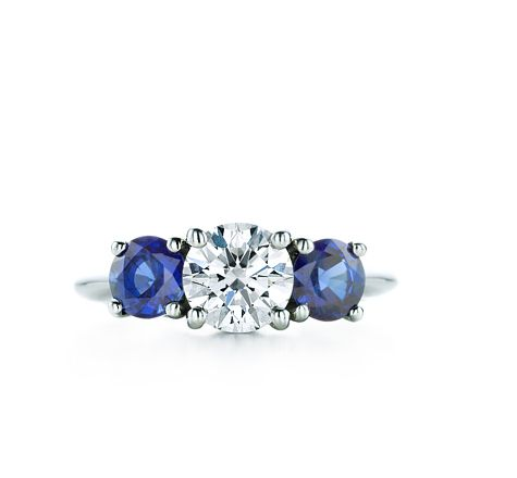 Tiffany & Co.   Engagement Rings   Three Stone With Sapphire Side Stones.