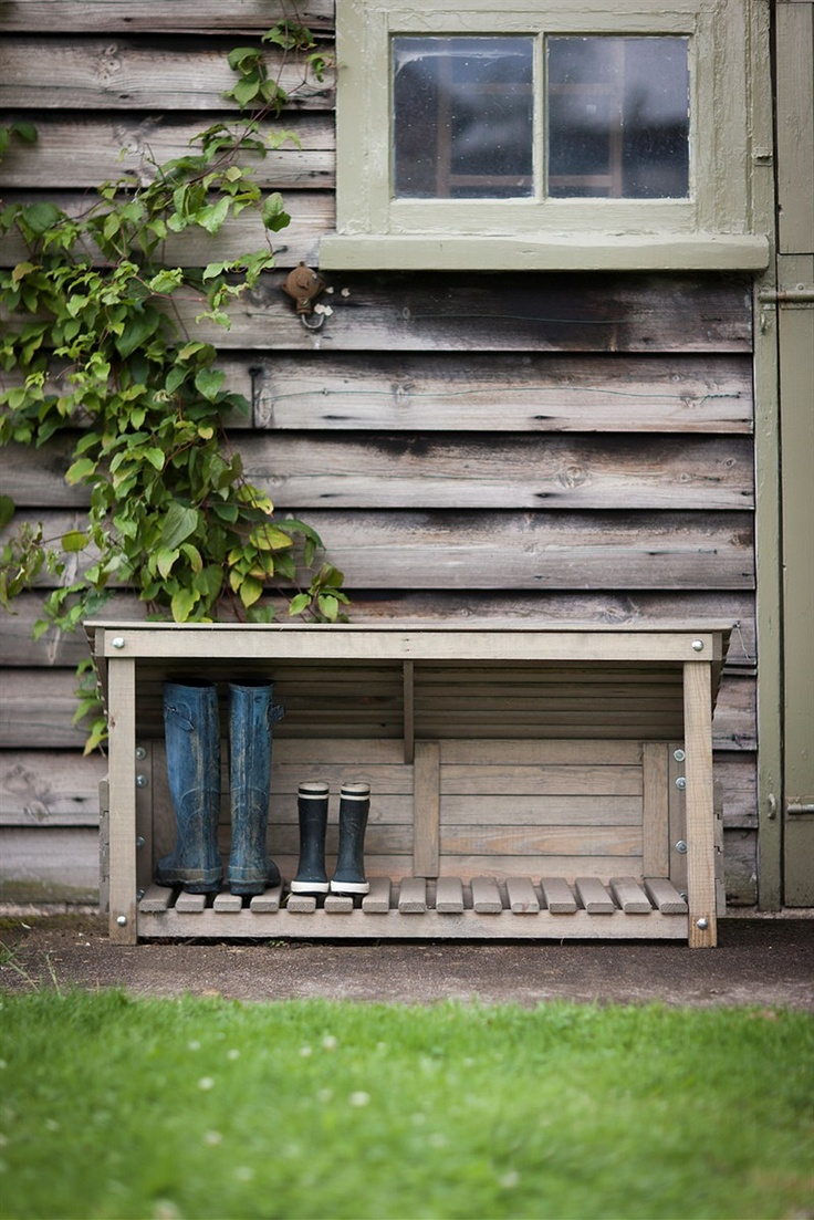 Keep your muddy wellies neat and tidy in our new wooden wellington store.