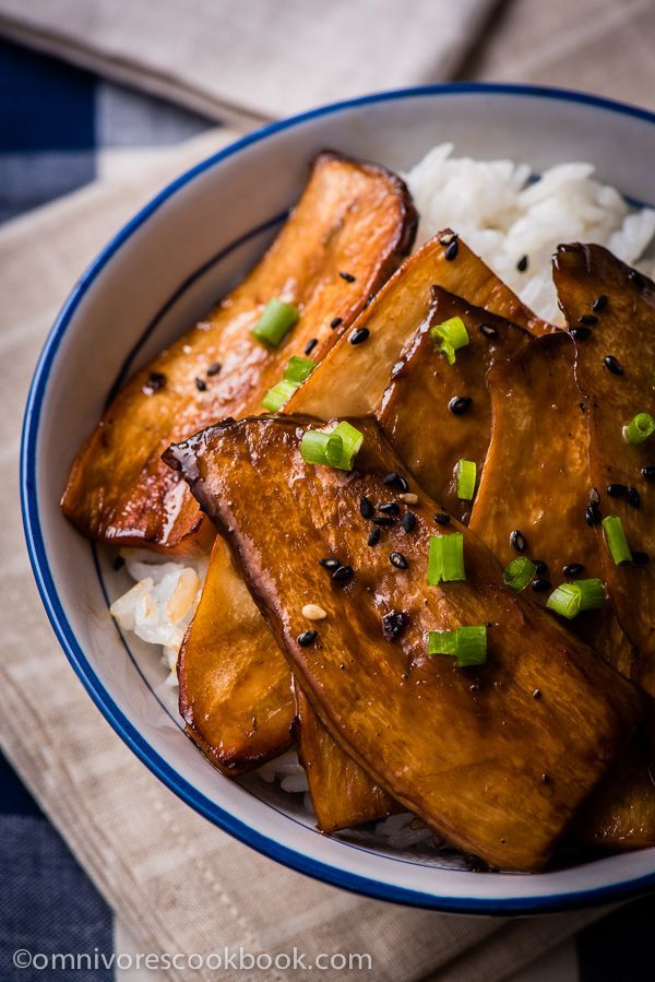 Teriyaki King Oyster Mushroom - A super easy way to cook king oyster mushrooms to make a vegan dish that tastes better than meat!