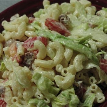 Weight Watchers BLT Pasta Salad Recipe -- I would switch out the bacon for tofurkey & add greek yogurt instead of sour cream!