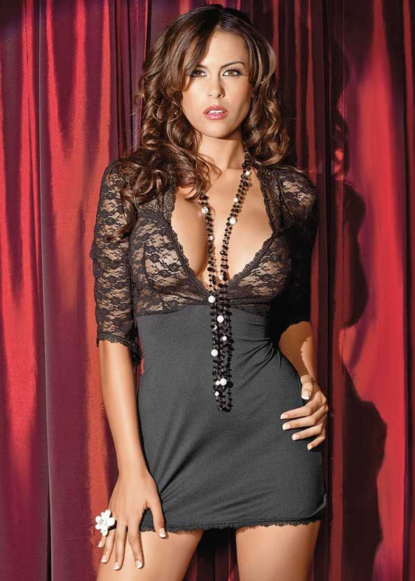 sexy little black dress with revealing lace bodice and