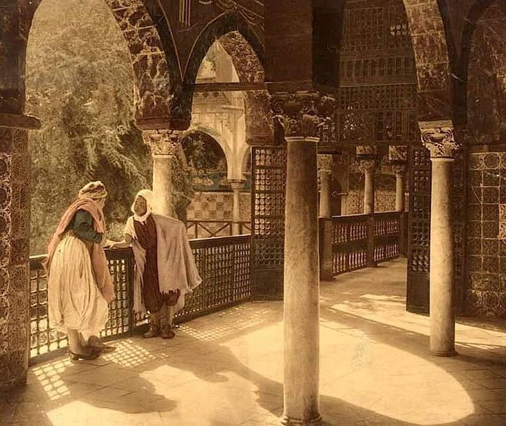 Gallery (large balcony) of a palace in medieval Algeria.   Gorgeous!    Artist not known.