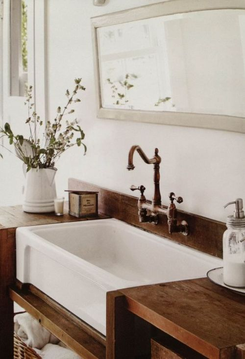 Farmhouse sink in bathroom