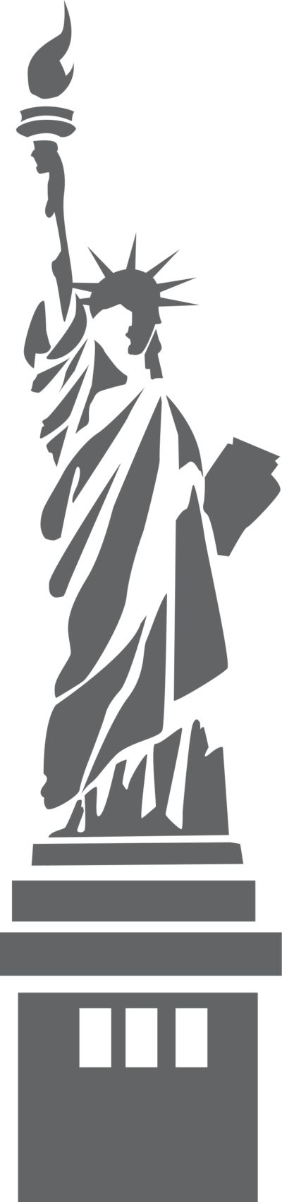 Illustration of the Statue of Liberty with a transparent background.