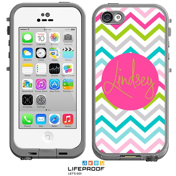 Sassy Chevron Monogrammed LifeProof® frē iPhone 5c Case, Personalized Waterproof Cases by Boutique Me