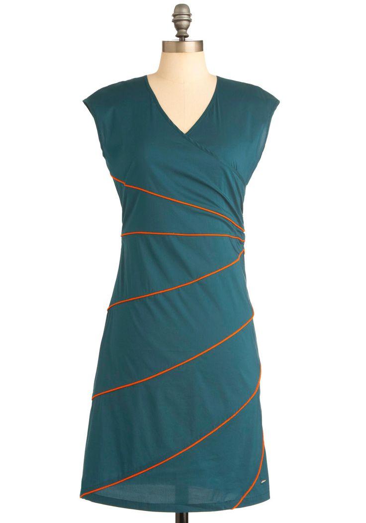 Ray Cool Dress by Skunkfunk - Mid-length, Casual, Urban, Green, Orange, Solid, Trim, Sheath / Shift, Short Sleeves