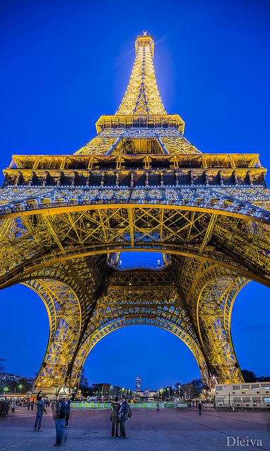 Eiffel Tower, Paris.  It's a wonderful place to spend......hours and hours and hours.  I watched the sun set on the city and the night lights glitter across the city.  Love Paris!