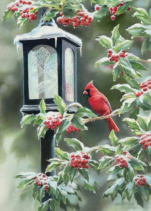 "Cardinals & winter..beautiful !!!! (Susan Bourdet watercolor) ""With its snowy mantle, this little lantern looks like a charming relic of the gaslight era. The frosted glass offered an interesting translucent element to contrast with the cardinal's brilliant red."""