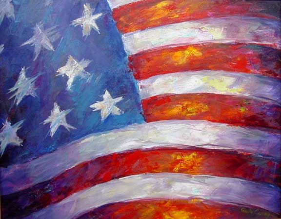 flag patriotic painting | American Flag. Paintings by Gayle Curry