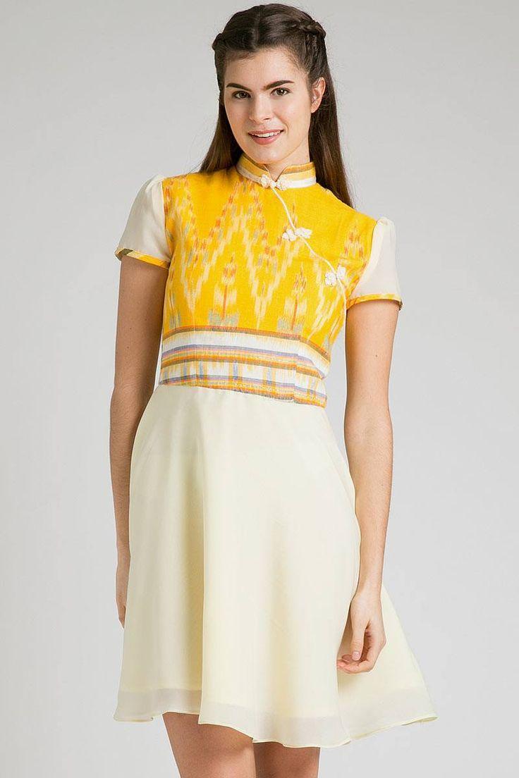 Lunar Indurasmi Dress dhievine for berrybenka | qipao dress | batik dress | tenun ikat | ikat dress | endek bali