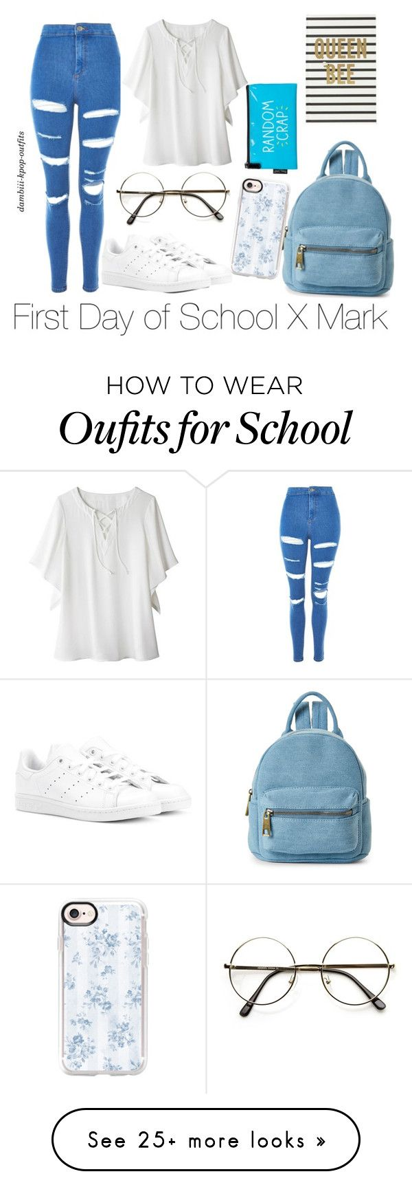 """First Day of School X Mark"" by dambiii on Polyvore featuring Topshop, Avon, adidas Originals, Street Level, Casetify, Kate Spade, Happy Jackson, mark, nct and NCT127"