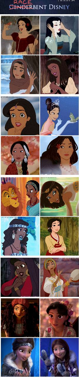 TheBahamianPrincess♚ Updated Racebent Princesses! ~~Princesses in order (left to right): Snow White (Spanish), Cinderella (Japanese), Belle (Arab), Aurora (Jamaican), Ariel (Indian), Tiana (Chinese), Mulan (Native American), Pocahontas (Pacific Islander), Jasmine (African/Luo), Meg (Egyptian), Kida (Maori), Jane (Korean), Eilonwy (African/Fula), Esmerelda (Moroccan), Merida (Brazilian), Rapunzel (Mexican), Elsa (Inuit), Anna (Inuit).
