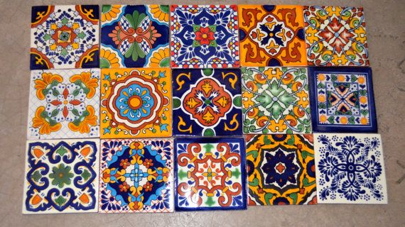 35  Mexican Talavera Tiles handmade Hand painted 4 by MexicanTiles