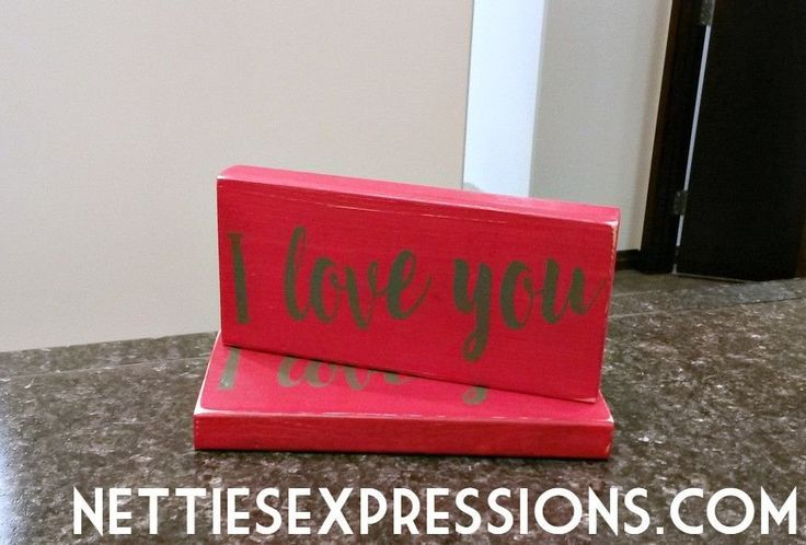 I love You 3.5x7 Red Wood Sign - Netties Expressions