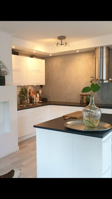 Vitt kök, betong