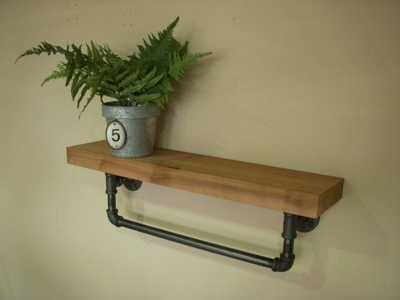 Industrial Towel Bar with Shelf with a 24 by EdnaFayeCreations