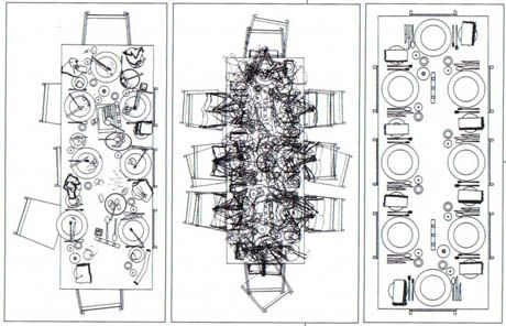 Dining disorder: This drawing by architects Sarah Wigglesworth and Jeremy Till, titled Increasing Disorder In A Dining Table, documents the progression of a meal from a perfectly laid table, through a motion-trace palimpsest of the dinner party in action, to the wreckage of dirty dishes and crumpled napkins that confronts the host(s) after the last guest has departed. Or the other way round, if you read from left to right…
