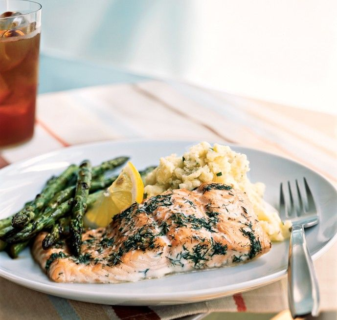 Try this baked salmon and dill recipe from Cooking Light for an easy and fresh dinner party main. The delicate combination of fresh dill and lemon lend just enough flavor to add interest to plain b...