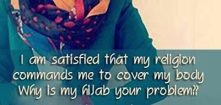 Beautiful hijab quote image I am satisfied that my religion